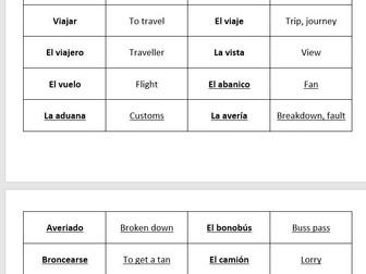 AQA GCSE Spanish vocabulary – Travel & tourism – match up cards