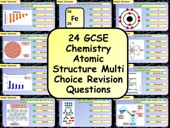 £1 ONLY! KS4 AQA GCSE Chemistry(Science) Atomic Structure Multiple Choice Revision Questions