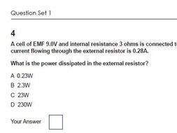 4 2 Energy Power and Resistance OCR Physics AS and A level Multiple Choice  Questions