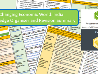 GCSE AQA 9-1 : India Case Study, Economic World, Knowledge Organiser and Revision Summaries.