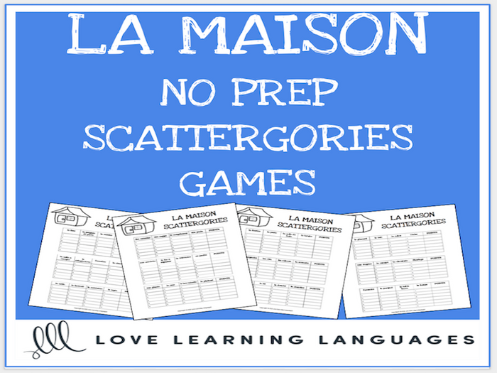 photograph about Printable Vocabulary Games called La Maison printable no prep scattergories sport - French vocabulary recreation