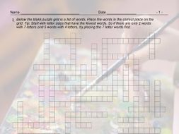 Art Forms Framework Crossword Puzzle and Answer Key