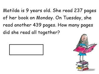 Roald Dahl Addition Lesson - Worded Problems