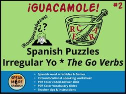 Spanish Puzzles & Games * Irregular YO GO Verbs *Verbos Irregulares en la forma de YO en español