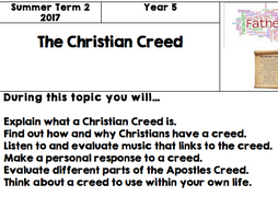 Year 5 - RE (Christian Creed) Lesson Plans and PowerPoints and Overview Sheet (Cheshire West)