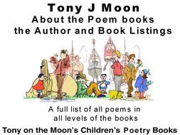 Information about Tony Moon's Poetry books and poem listings.