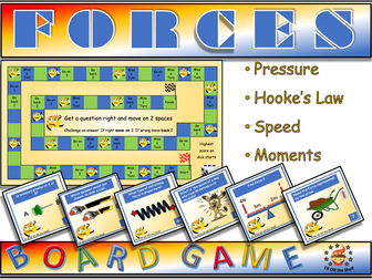 Forces Board Game with 48 Questions on Pressure, Speed, Moments & Hooke's Law for KS3