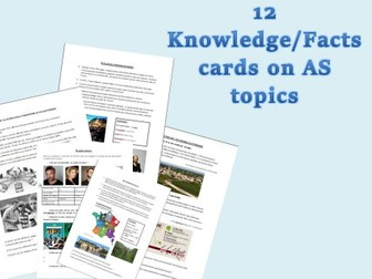 A-Level French AS - Speaking cards - Knowledge/Data/Facts on each topics