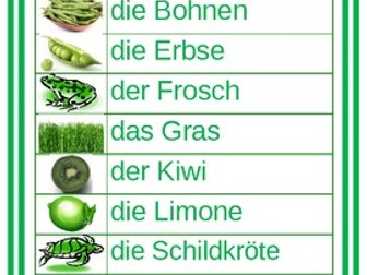 Farben (Colors in German) Word wall