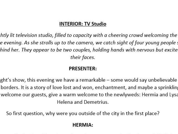 TV Interview script - A Midsummer Night's Dream by reresby ...