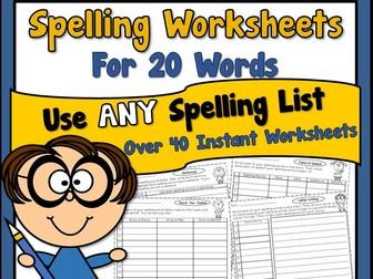 Spelling Worksheets for 20 Words