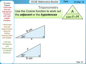 Fundamental Pythagoras & Trigonometry - iGCSE Booklet