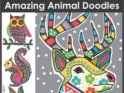 Winter coloring pages - animal doodles, art and writing KS1, KS2