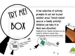 """Try me"" Box. Perfect for outdoour area/ activities/ forest school/ EYFS/EYFP/ Early years activity"