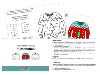 Christmas Calculated Colouring (Substitution)