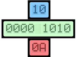 Computer Science denary, hexadecimal, binary number line class display