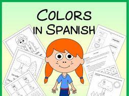 Spanish Colors Vocabulary Sheets, Worksheets, Memory & Bingo Games