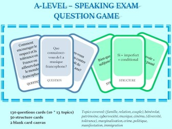 A-level French - Speaking questions - Card Game covering all topics