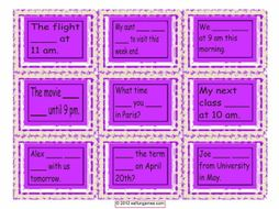 Present Simple or Continuous For Future Use Cards 4 Pages = 36 Cards