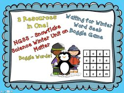 Winter Matter and Snowflake Science Unit with Boggle