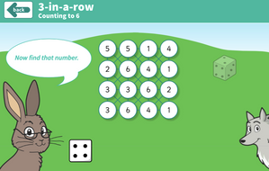 Counting Forwards and Backwards - 3-in-a-row Dice Interactive Game - EYFS Number
