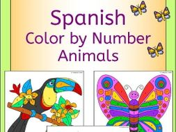 Spanish Color by Number Animal Pictures
