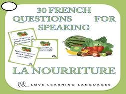 GCSE FRENCH: 30 French speaking questions - La nourriture - Food