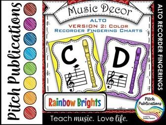 Alto Recorder Fingering Chart Posters v2 COLOR - Music Decor Rainbow Brights