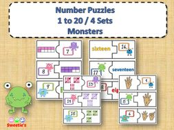 Number Puzzles 1 to 20 - Monster Theme - 2 Pieces Per Puzzle