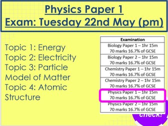 Physics Paper 1 Revision AQA Trilogy Foundation