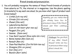 End of term wksheet: Fre brands/food pronunciation