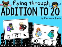 "Superhero Addition Clip Cards ""Flying through Addition to 20"""