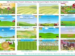 Present Continuous Tense Barnyard English PowerPoint Game