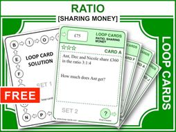 ratio sharing money loop cards by maths4everyone teaching resources. Black Bedroom Furniture Sets. Home Design Ideas