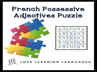 GCSE FRENCH: French possessive adjectives puzzle activity