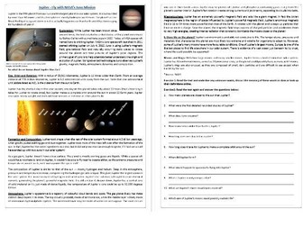 Jupiter - Fly with NASA's Juno Mission / Reading Comprehension Worksheet