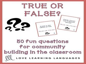 50 true or false question cards - Conversation prompts