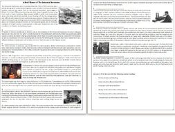 A Brief History of The Industrial Revolution - Reading Comprehension  Worksheet / Informational Text