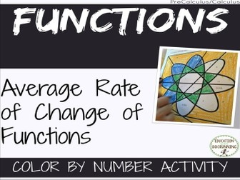 Average Rate of Change of Functions Color by Number Activity