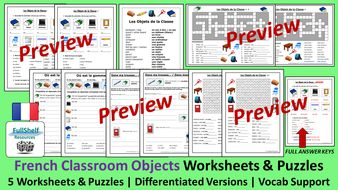 French-Classroom-Objects-Worksheets-and-Puzzles..zip