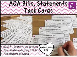 Bills, Statements, Credit, Debit GCSE 9-1 AQA Exam Style Task Cards & Starter
