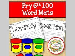Sight Word Mats:  Fry 6th 100 Word Mats – B/W