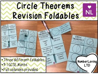 Circle Theorems Revision Foldable
