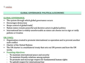 Global Governance - Political & Economic - Edexcel Politics A-Level 9PL0