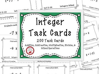 Integer Operations - 200 Task Cards