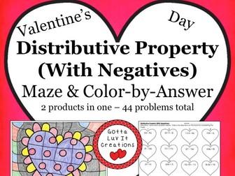 Valentine's Day Math Distributive Property With Negatives Maze & Color by Answer Activity Set