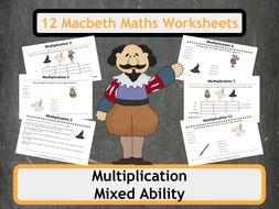 Shakespeare's Macbeth Themed Multiplication Worksheets