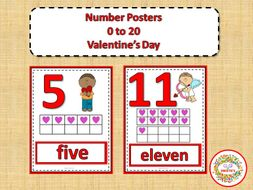 Number Posters 0 to 20 with Ten Frames - Valentines