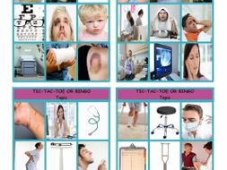 Doctors, Illnesses and Injuries Tic-Tac-Toe or Bingo