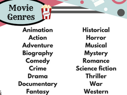 Movie Genres List Free Resource By Planwitheve Teaching